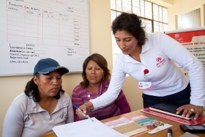A Pro Mujer credit officer assists members of a communal bank group.