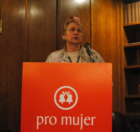 Laura Liswood receives an award from Pro Mujer at the Cornell Club in Manhattan.